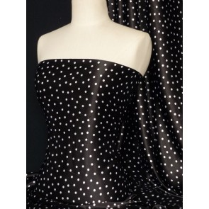 Black spots super soft satin fabric Q548 BK
