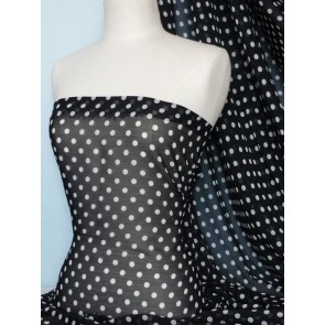 Black white polka dots chiffon sheer fabric Q586 BKWHT