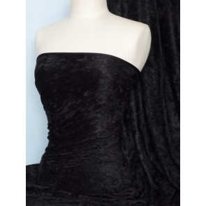 Black Crushed Velvet/ Velour Stretch Fabric Q156 BK