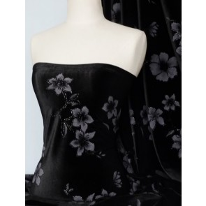 Black floral velvet 2 way stretch spandex lycra Q367 BK