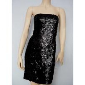 Black sequined/ sequins stretch fabric with elastane