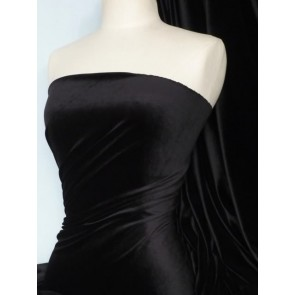 Black Steam Velvet Stretch Fabric SV157 BK