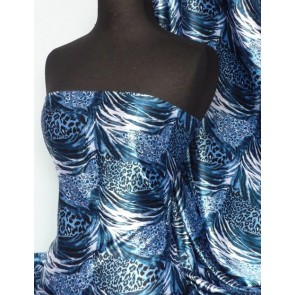 Blue animal super soft satin fabric Q549 BL