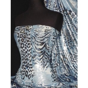Blue Leopard Silver Foil Silk Touch 4 Way Stretch Fabric Q669 BL