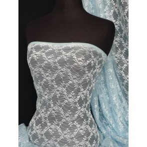 Soft Blue ditsy 2 way stretch delicate lace fabric Q412 SFTBL