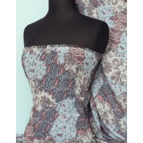 Blue Paisley Print Soft Touch Chiffon Sheer Q378 BL
