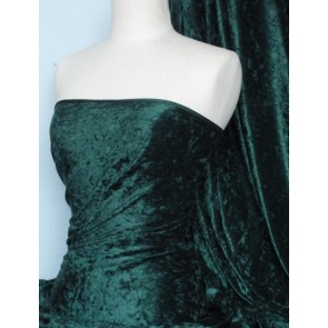 Bottle Green Crushed Velvet/ Velour Stretch Fabric Q156 BTGR