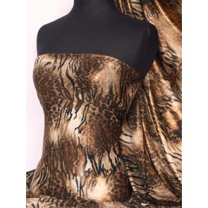 Brown animal with copper foil 4 way stretch Q821 BRCOP