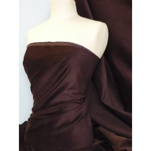 Brown Cotton Velvet/ Velour Stretch Fabric Q996 BRN