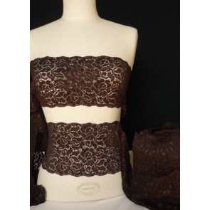 Chocolate brown flower design wide lace trimming SY12