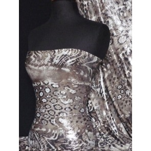Dark Brown Leopard Silver Foil Silk Touch 4 Way Stretch Fabric Q669 DKBR