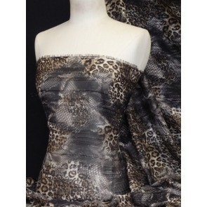 Brown Leopard Soft Touch Chiffon Sheer Subtle Shimmer Q1166 BR