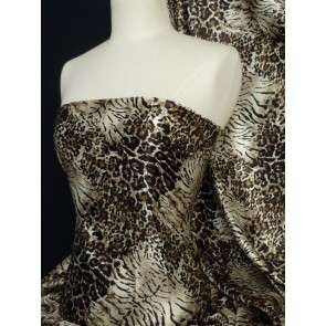 Brown leopard super soft satin fabric Q594 BR