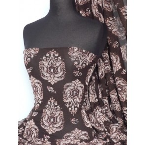 Brown paisley stretch helenka sheer fabric Q920 BRN