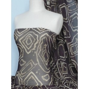 Brown Geometric Chiffon Sheer Fabric Material Q754 BR