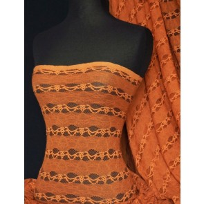 Burnt Orange 4 Way Stretch Stripe Design Lace Q585 BTOR