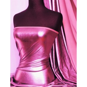 Clearance Cerise Pink Metallic Foil 4 Way Stretch Lycra Q404 CRS