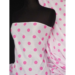 Cerise polka dots poly cotton fabric Q708 CRS