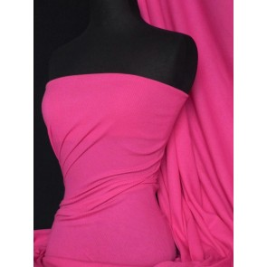 Hot Pink 2 x 2 Rib 100% Cotton Jersey Knit Fabric Q1007 HTPN