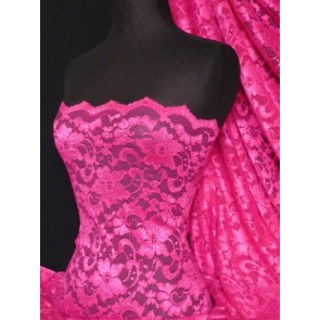 Cerise Scalloped Stretch Lace Lycra Fabric Q615 CRS