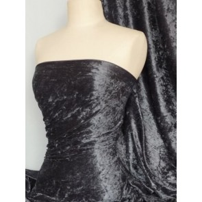 Charcoal Grey Crushed Velvet/ Velour Stretch Fabric Q156 CHGR