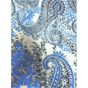 Sky Blue Paisleys Soft Touch Chiffon Sheer Fabric CHF236 SKBL