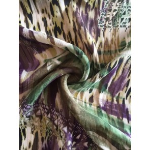 Jungle Green/Purple Crinkle Chiffon Soft Touch Sheer Fabric CHF242 GRPPL