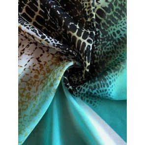 Reptile Patchwork Mint/Black Soft Touch Chiffon Sheer Fabric CHF243 MNTBK