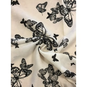 Butterfly Family Ivory Georgette Soft Touch Chiffon Sheer Fabric CHF248 IVBK