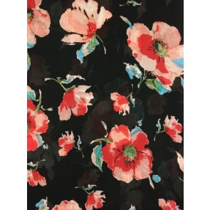 Black/ Red Pansies Georgette Soft Touch Chiffon Sheer Fabric CHF250 BKRD