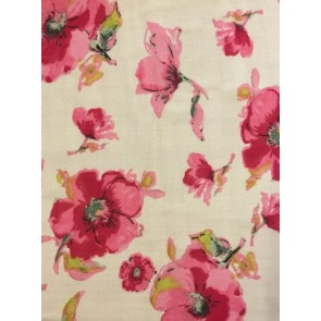 Ivory/ Cerise Pansies Georgette Soft Touch Chiffon Sheer Fabric CHF250 IVCR
