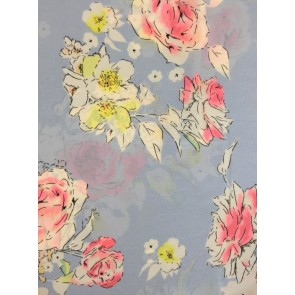 Powder Blue/ Pretty Pink Roses Georgette Soft Touch Chiffon Sheer Fabric CHF253 PBLPN