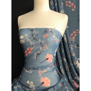 Shimmer Blossoms Dusky Blue Soft Touch Chiffon Sheer Pleated Fabric CHF259 DBL