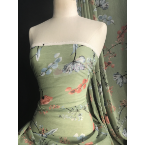 Shimmer Blossoms Pistachio Green Soft Touch Chiffon Sheer Pleated Fabric CHF259 PISTA