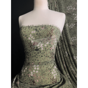Floral Field Khaki Soft Touch Chiffon Sheer Fabric CHF260 KH