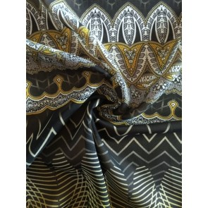 Golden Embroidery Black/Gold Soft Touch Chiffon Sheer Fabric CHF245 BKGD