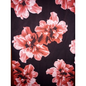 Black/ Red Floral Bloom Soft Silky Polyester Dress & Blouse Fabric PPOLYF57 RDBK
