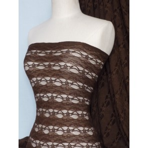 Chocolate 4 Way Stretch Stripe Design Lace Q585 CHOC