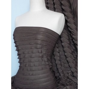 Chocolate catwalk look stretch frilly fabric Q168 CHO