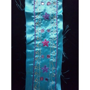 Clearance Turquoise Satin Ribbon With Mirror Embroidery CL TR7
