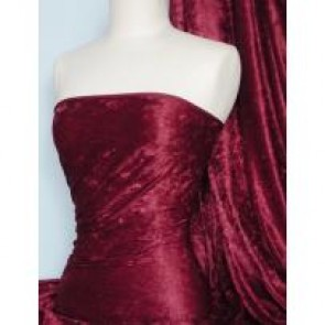 Claret Crushed Velvet/ Velour Stretch Fabric Q156 CLT