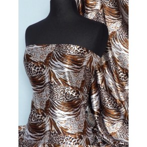 Copper animal super soft satin fabric Q549 COP
