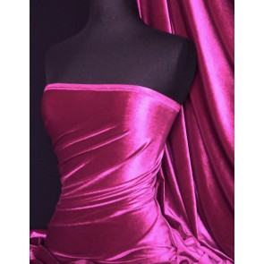 Fuchsia Pink Velvet 4 Way Stretch Spandex Q559 FCH