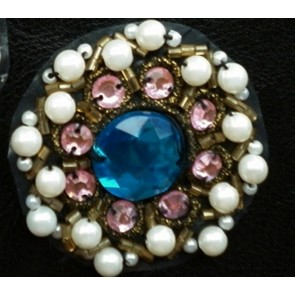 Turquoise jewel multi beaded brooch EM52 *