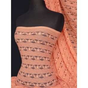 Coral 4 Way Stretch Stripe Design Lace Fabric Q585 CRL