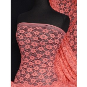 Coral Daisy Stretch Lace Fabric Q906 CRL