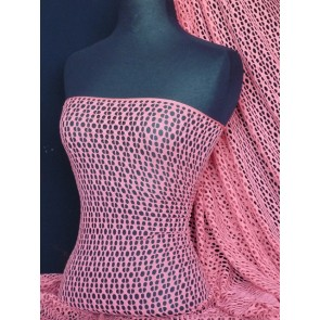 Coral fishnet / abstract net stretch fabric Q899 CRL
