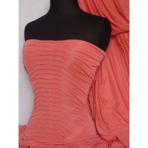 Coral Ruched 4 Way Stretch Fabric Q803 CRL