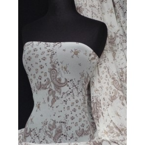 Cream/Brown Paisley Stretch Helenka Sheer Q939 CRMBR