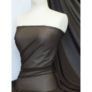 Dark Chocolate Soft Touch Chiffon Sheer Fabric Q354 DKCHO